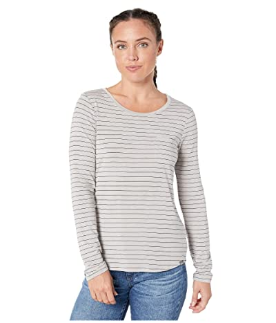 Prana Foundation Long Sleeve Crew Neck Top (Light Grey Heather Stripe) Women