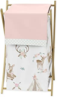 Sweet Jojo Designs Blush Pink, Mint Green and White Boho Baby Kid Clothes Laundry Hamper for Woodland Deer Floral Collection