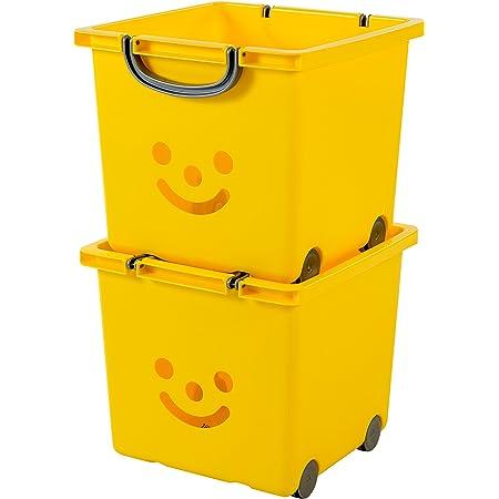 Iris Ohyama, set - 2 grandes boîtes de rangement pour jouet sur roulette - Smiley Kids Boxes - KCB-32, jaune soleil, 25 L, 32 x 33 x 29 cm