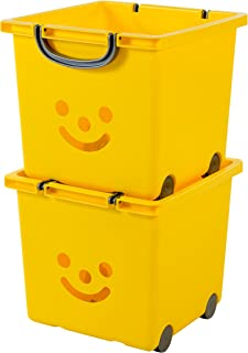 Iris Ohyama 135609 Set de 2 Cubes de Rangement Kids sur Roulettes, Plastique, Jaune, 25 Litres