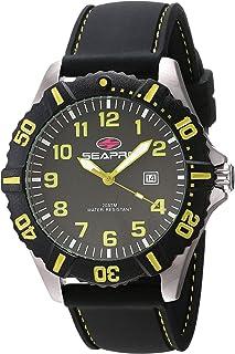 Seapro Men's Trooper Stainless Steel Quartz Silicone Strap, Black, 22 Casual Watch (Model: SP1512)