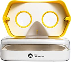 Newly Improved DSCVR Virtual Reality Viewer for iPhones and Android Smartphones - Inspired by Google Cardboard 2.0 - Google WWGC Certified VR viewer (Yellow)