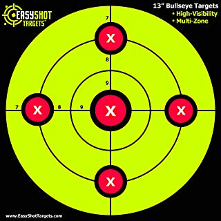 """EasyShot Targets """"100-Pack"""" Sight-in Shooting Targets - Large 13 X 13"""" Maximum Visibility Bullseye Sight-in Targets for Shooting - Neon Green, Bright and Colorful - Easy to See Your Shots."""