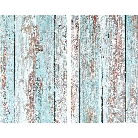 Allstar Plaque de protection en verre Blue Wood - Set de 2, couvre-plaque de cuisson pour plaques de cuisson vitrocéramiques ou induction, Verre trempé, 30 x 0.8 x 52 cm, Multicolore
