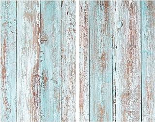 Allstar Plaque de protection en verre Blue Wood - Set de 2, couvre-plaque de cuisson pour plaques de cuisson vitrocéramiqu...