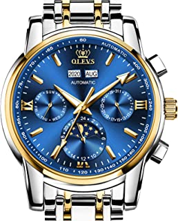 Mens Stainless Steel Metal Automatic Watches Moon Phase Chronograph Business Dress Watches for Male