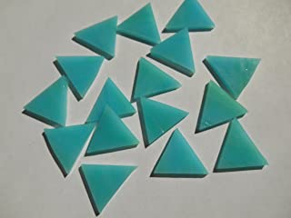 FortySevenGems 50 Pieces Teal Stained Glass Mosaic Triangle Tiles 1 Inch