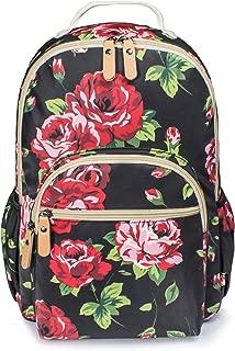 H HIKKER-LINK Womens Red Floral Laptop Backpack College Bookbag PVC Travel Hiking Daypack Black