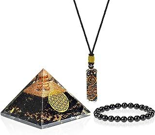 Orgone Pyramid Pendant   Emf Protection Positive Energy Generator   3 in 1 Black Tourmaline Chakra Bracelet Orgonite Pyram...