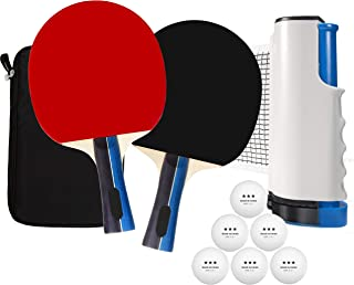 Solid 7-Layer Quality Paddles in a Portable Ping Pong Set for Any Table, Portable Table Tennis Set with a Retractable Ping Pong Net for Indoor and Outdoor