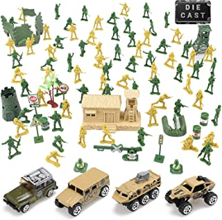 TOY Life Plastic Army Men Plus Die Cast Military Toy Vehicles Play Set | 95pc Piece Army Toys Gift Set for Boys | Includes Toy Soldiers Army Base Toy Props Plus 4 Diecast Military Toy Vehicles