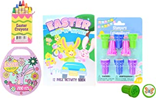 Easter Basket Stuffers for Kids Set - Children's Arts & Crafts Prizes - Color by Number Activity Book, Mini Egg 200 Stickers Book, Easter Crayons, & Stampers - Easter Party Favors - Bundle 4