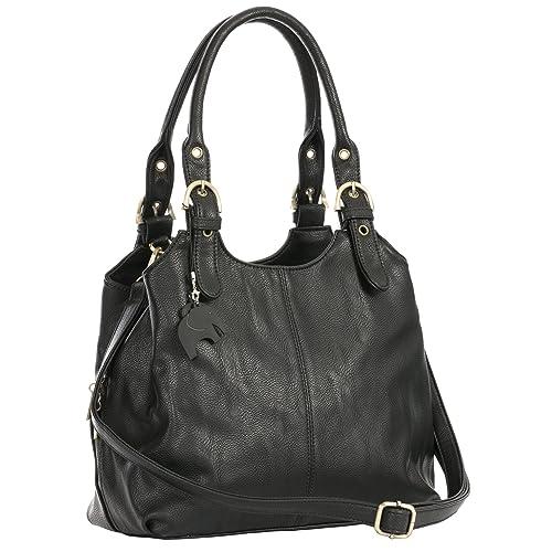 BHSL Womens Multiple Pockets Medium Size Long Strap Shoulder Bag - with a Branded Protective Storage Bag