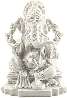 Bellaa 23613 White Ganesh Beautiful Statues Hindu Good Luck God 5 Inch Tall