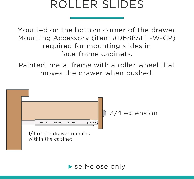 Metal Pair of Soft-Close Ball Bearing Drawer Slide 22-Inch