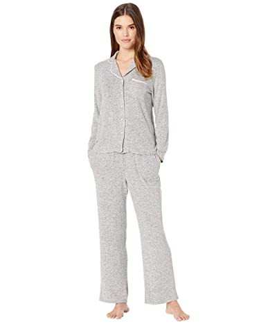 Kate Spade New York Sweater Knit Jersey Long Pajama Set (Grey Heather) Women