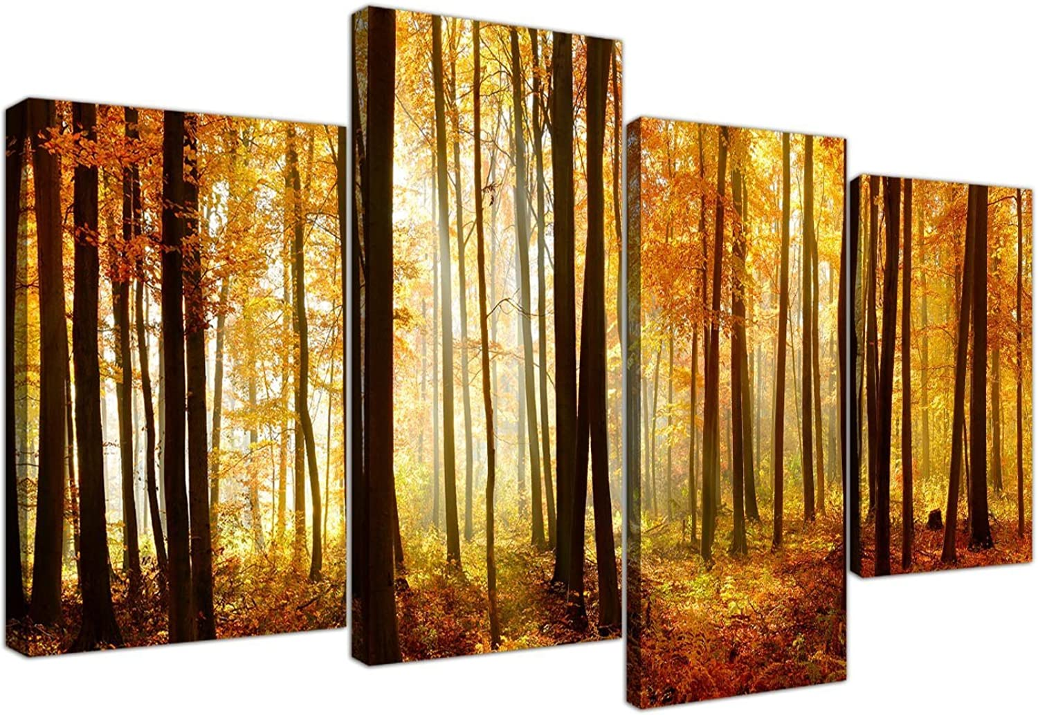 orange Autumn Forest Scene Woodland Trees Canvas - Split 4 Part - 51 Inches Wide - 4243 - Wallfillers