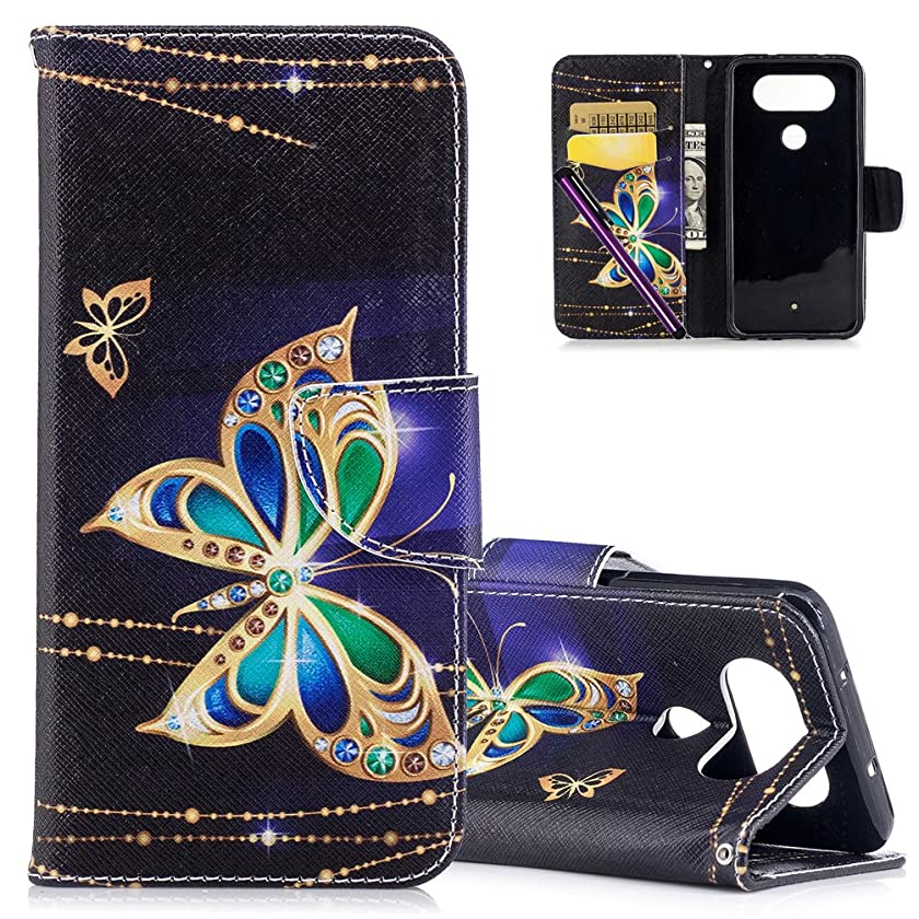 LG Q8 Leather Case COTDINFORCA Elegant Ultra Slim & Thin Fit Magnetic Flip Case Cover with Card Slots Premium Protective Accessory for LG Q8/LG V20 Mini. PU - Diamond Butterfly
