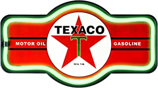 Officially Licensed Texaco Motor Oil Gasoline LED Sign, New Improved Now with 6' Wall Plug Cord! LED Light Rope That Looks Like Neon, Wall Decor for Bar, Garage, or Man Cave