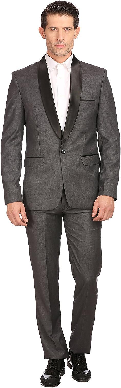LUXURAZI Satin Shawl Collar Men's Grey Partywear Tuxedo Suit