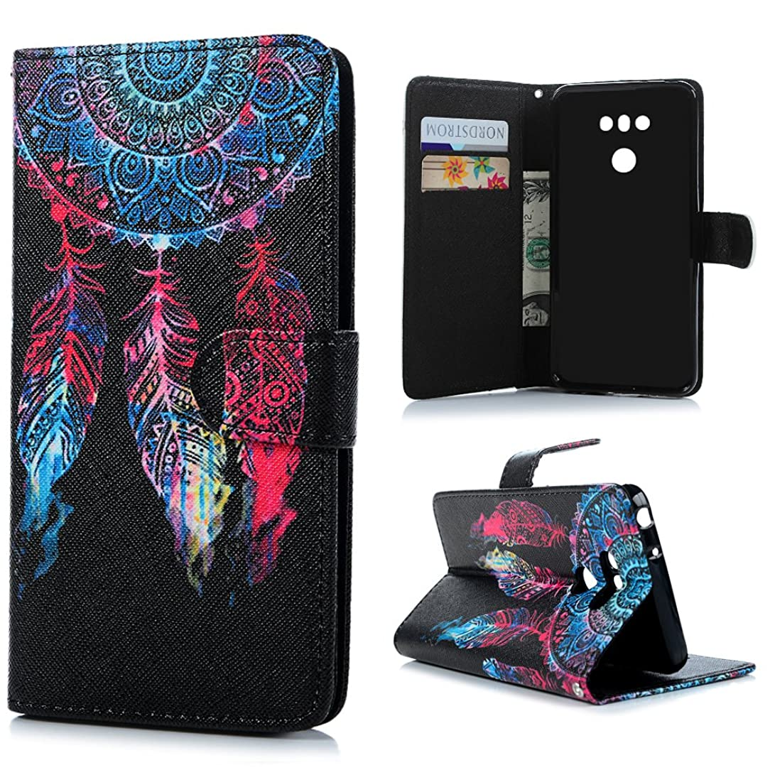 LG G6 Case, MOLLYCOOCLE Drawing Colored Feather Pattern Wallet Case Magnetic Closure Soft TPU Inner Bumper Black PU Leather Card Slot Protective Cover for LG G6 2017, Wind Chimes