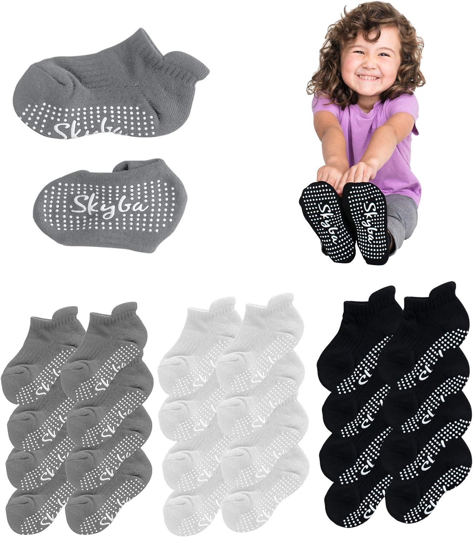 Skyba Toddler Socks With Grips Trampoline Socks - Slipper Socks For Kids Girls Boys Toddlers
