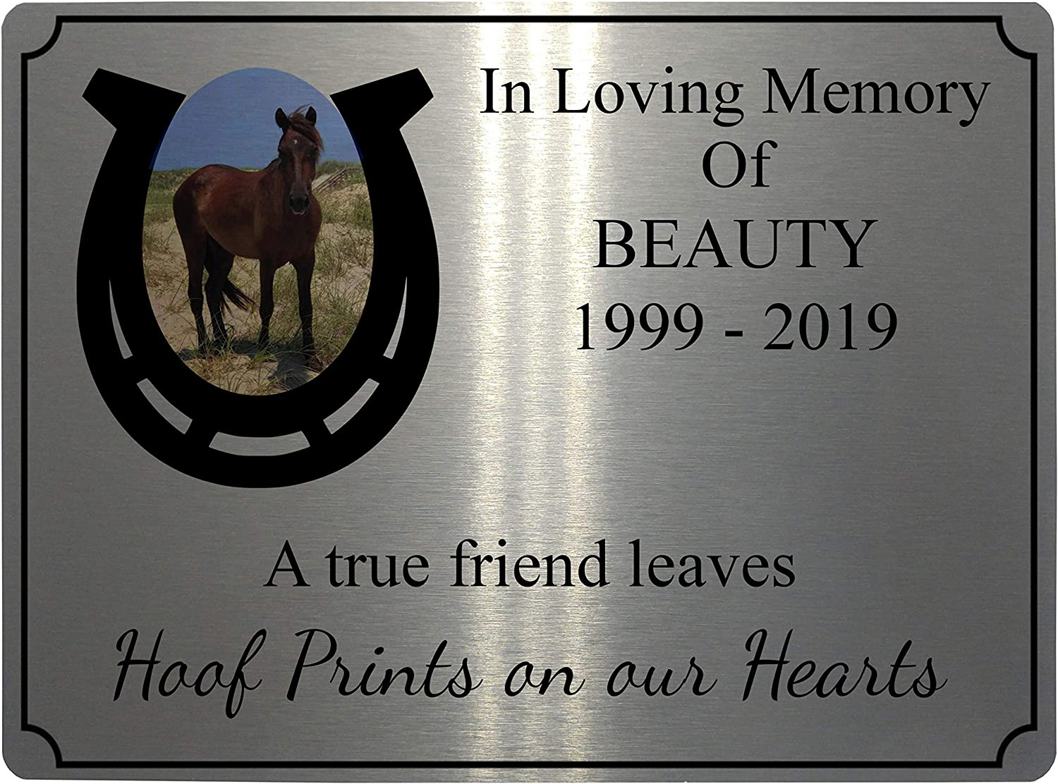 197x141mm, Brushed Silver Personalised Memorial Photo Pets Horse Shoe Pony Metal Aluminium Plaque Sign 4 Sizes