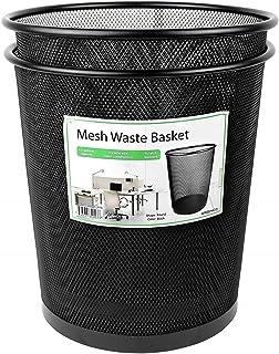 Greenco GRC2586 Mesh Round Wastebasket Trash Can, 4.5 Gallon, Black, 2 Pack
