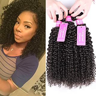 Original Queen 100% Brazilian Unprocessed Virgin Kinky Curly Human Hair Weave 4 Bundles Deep Curly Hair Extensions Mixed Length 12 12 12 12inches