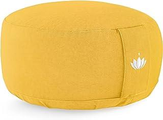 Lotuscrafts Coussin de méditation Lotus - Hauteur d'assise 15 cm - Rembourrage d'épeautre - Housse en Coton Lavable - Cous...