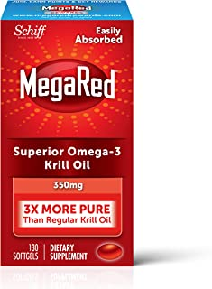 MegaRed 350mg Omega-3 Krill Oil - No fishy aftertaste as with Fish Oil 130 ea