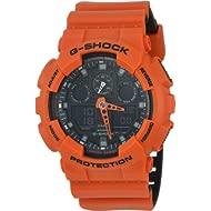 Men's G-Shock Stainless Steel Quartz Sport Watch with Silicone Strap, Orange, 29.4 (Model:...