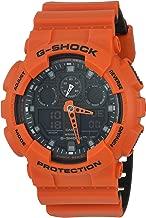 Casio G-Shock Men's G-Shock Stainless Steel Quartz Sport Watch with Silicone Strap, Orange, 29.4 (Model: GA100L-4A)