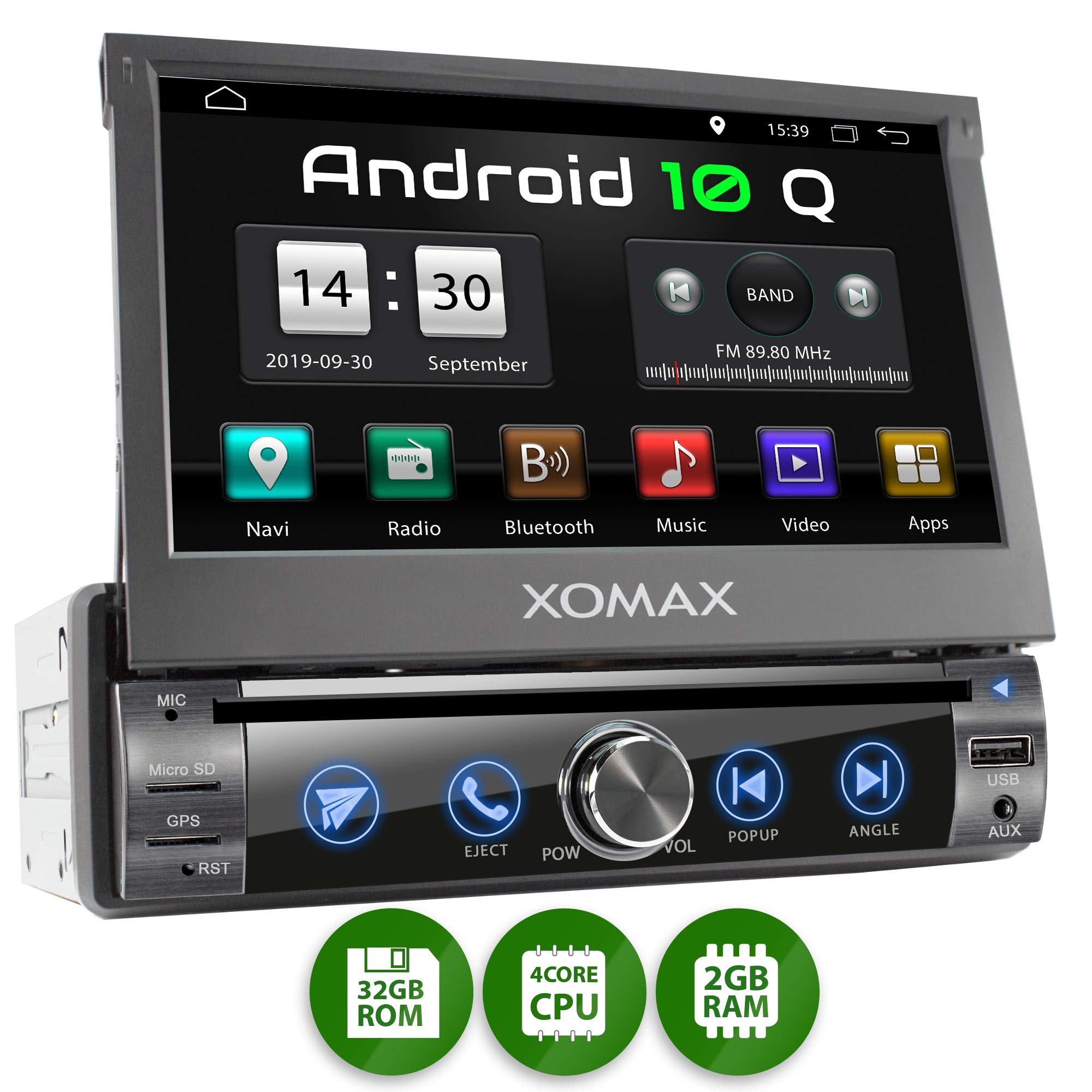 XOMAX XM-DA759 Radio de Coche con Android 10 I Quad Core, 2GB RAM, 32GB ROM