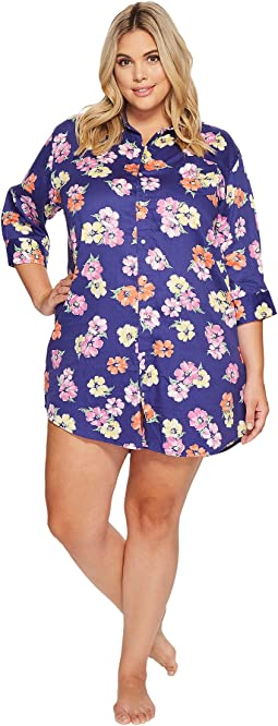 LAUREN Ralph Lauren - Plus Size 3/4 Sleeve His Shirt Sleepshirt