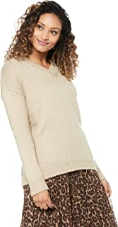 French Connection Women's Lurex V Neck Knit, Oatmeal/Lurex