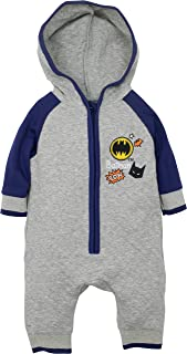 Batman Baby Boys' Hooded Coverall One-Piece Romper, Grey and Blue