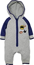 Warner Bros. Batman Baby Boys' Hooded Coverall One-Piece Romper, Grey and Blue