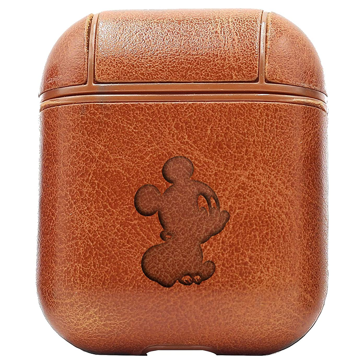 Baby Mickey Mouse and Minnie Cartoon Films 2 (Vintage Brown) Engraved Air Pods Leather Case - a New Class of Luxury to Your AirPods - Premium PU Leather and Handmade exquisitely by Master Craftsmen
