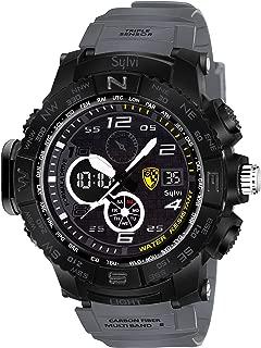 Sylvi Youth Outdoor Sports Fashion Casual Multifunction Waterproof Analog Digital Black Dial Men's Watch