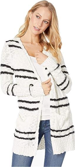 Cotton Slub Blend Striped Cardigan KS3K5877