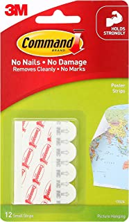 Command Poster Strip, Damage Free walls,12 Strips, Holds Strong,Hold 225gm, White