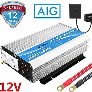 GIANDEL Inversor de Corriente 2000W Onda Modificada Convertidor 12V 220V 230V con Mando a Distancia & Pantalla LED & Salidas de AC duales para RV Truck Car