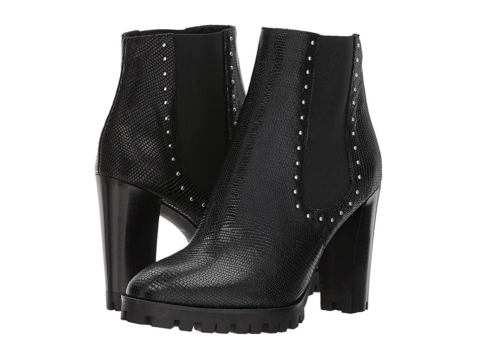The Kooples Reptile-Effect Leather Boots with Studs (Black) Women