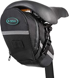 DominickBike Saddle Bag Water ResistantBicycle Under Seat Pouch Wedge Packswith Reflective StripesBlack