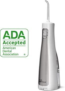 Waterpik Water Flosser Cordless Dental Oral Irrigator for Teeth with Portable Travel Bag and 3 Jet Tips, Cordless Freedom ADA Accepted, WF-03, White