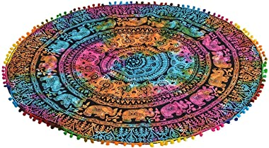 B & A Ventures Creations Creations Indian Tapestry Mandala Round Mandala Center Table Cover/Traditional Cotton Round Tabl