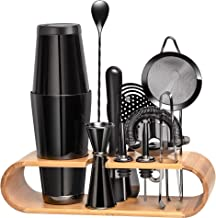 11 Pieces Mixology Bartender Kit by Mixologic: 304 Stainless Steel Boston Cocktail Shaker Bar Set With Sleek Bamboo Stand ...