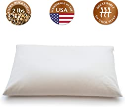 "ComfyComfy Buckwheat Hull Pillow, Standard Size (20"" x 26""), with Extra 2 lbs of Buckwheat Hulls for Customization, Breathable for Cool Sleep, USA Grown Buckwheat and Durable Cotton Twill"