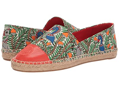 Tory Burch Color Block Flat Espadrille (Orange Something Wild/Spicy Orange) Women